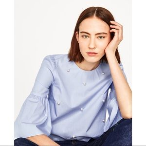 Zara Studded Pearl Light Blue Ruffle Sleeve Top